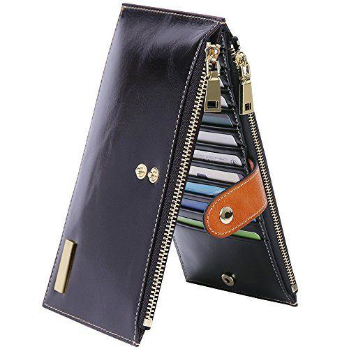 59dc3e87b7e493 Damen Geldbörse Leder RFID Schutz Portemonnaie Damen mit 18 Kartenfächern  und 2 Reissverschlusstaschen für Geld oder