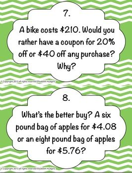 Rates and Percents Stations! Get your students out of their desks and up and moving by disguising a worksheet as stations!  Students will move around the room solving twenty questions about ratios, unit rates, finding percents of numbers, discounts, and sale prices. Directions for suggested use, 21 station cards, student answer sheet, and answer key provided. Five anchor activities related to the topic are included on the 21st station card for early finishers who need a challenge.