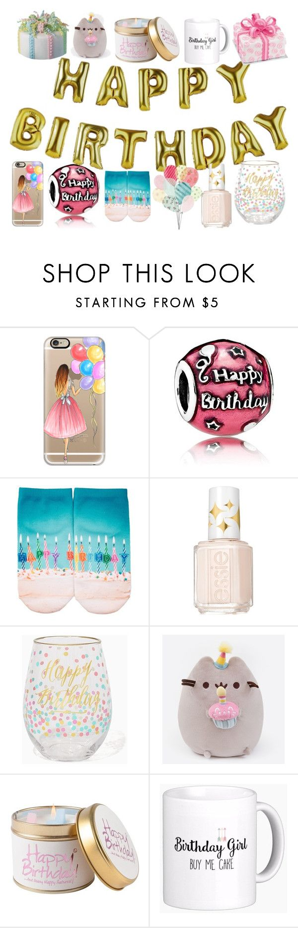 """""""Happy birthday, birthday girl"""" by colourlover24 ❤ liked on Polyvore featuring Talking Tables, Casetify, Pandora, Free Press, Essie, Pusheen and Lily-Flame"""
