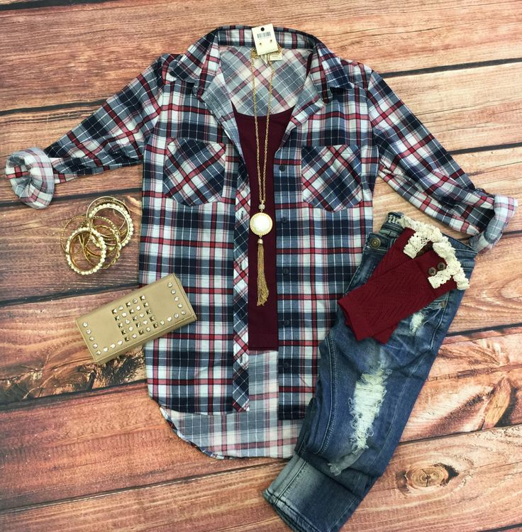 What I like about you Plaid Flannel Top: White/Burgundy from privityboutique