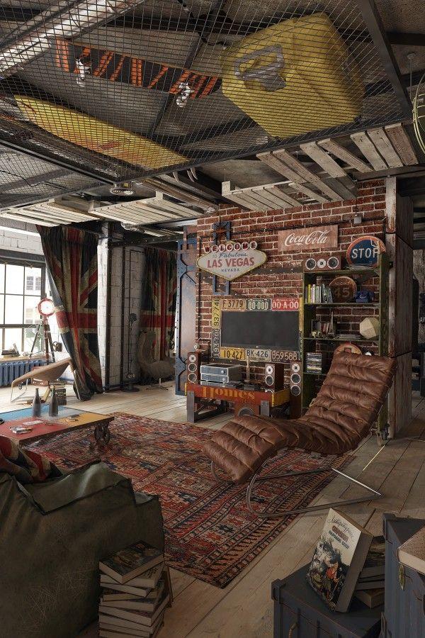 Mix aus Retro, Industrial und Spielhalle Männer richten Wohnung ein   Männer Wohnungseinrichtung