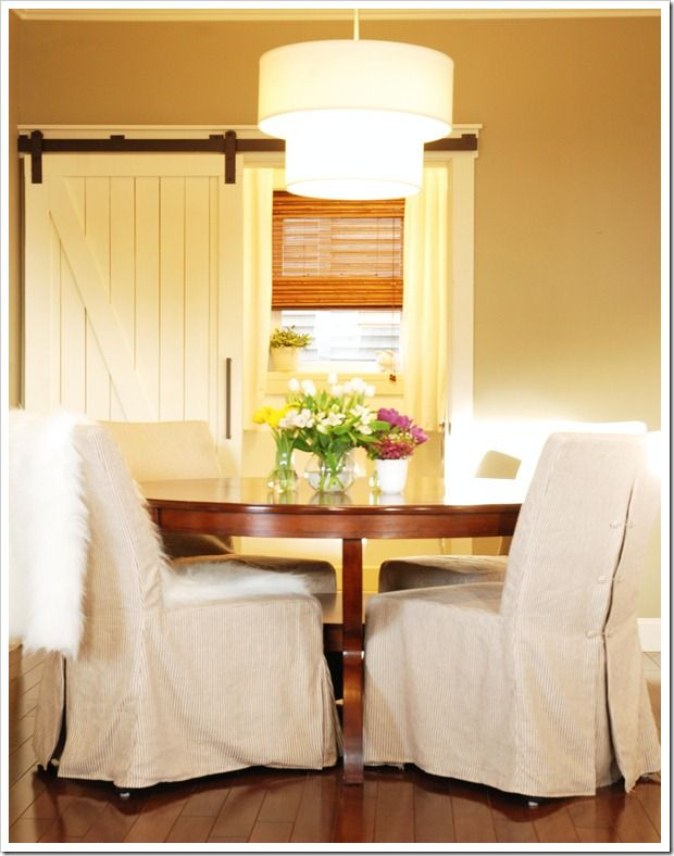 Add a feeling of downhome to your house: a barn door! Neat!