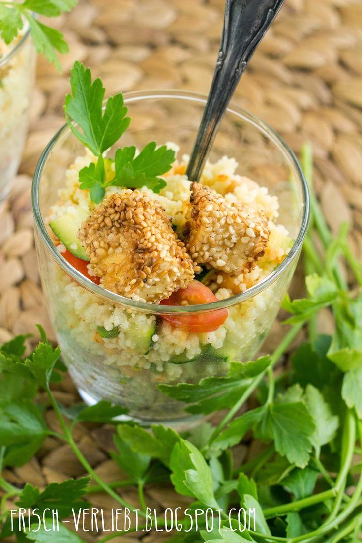 Couscous-Salat mit paniertem Feta & würzigem Joghurt-Dressing by Frisch Verliebt