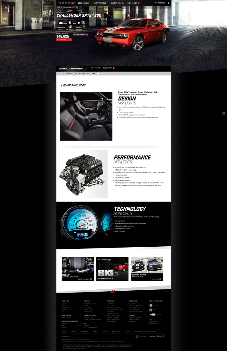 car website with big image on top and nice separation with the background for when scrolling