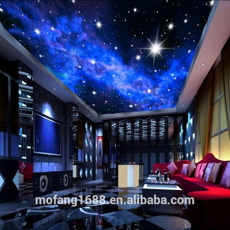 Blue night sky bedroom starry ceiling 3D wallpaper app.alibaba.com/…