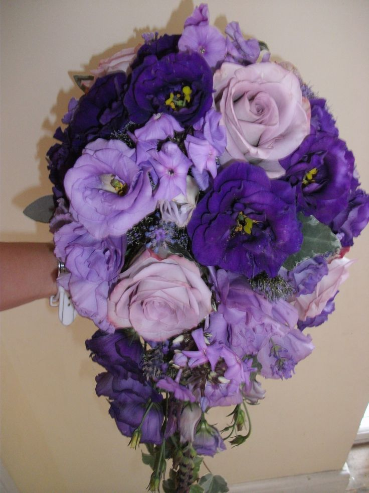 Lilac and purple double lisianthus teardrop bouquet with ocean pacific rose