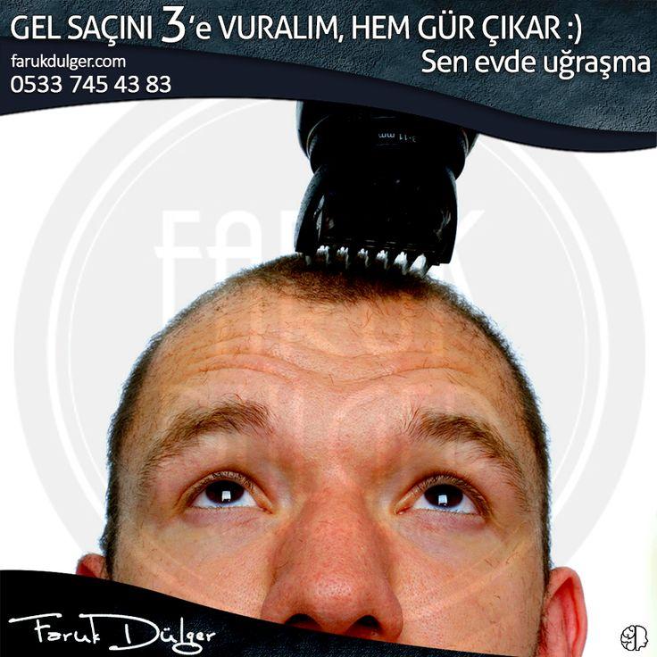 Kafanı nadasa mı bırakmak istedin, gel Salon Faruk Dülger'e, 3'e vuralım. Evde uğraşma... #erkek #bursa #fsm #saç #kuaför #3numara #kafa