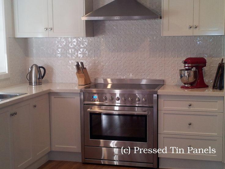 Pressed Tin Panels Acorn Design Kitchen Splash Back White Powder Coat