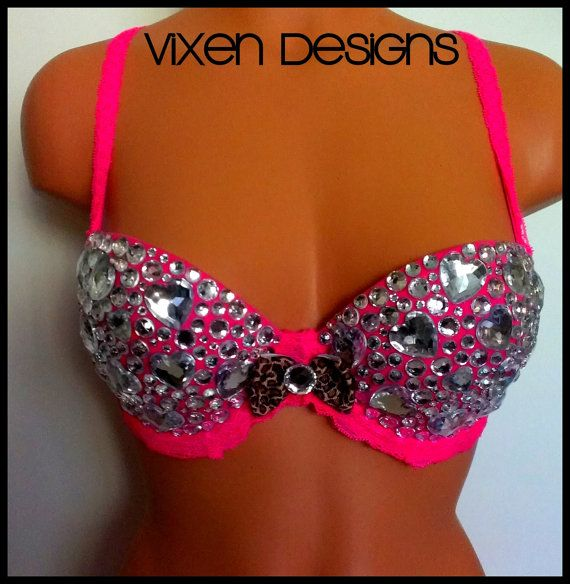 Pink PushUp Bedazzled Bra by ShopVixenDesigns on Etsy, $60.00