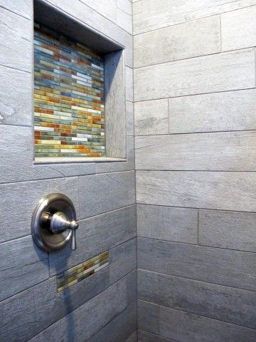 Wood Planking Tile Shower With Decorative Accents By Dal