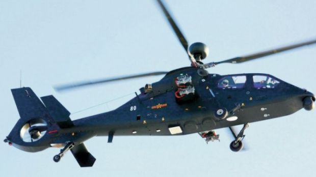 """China continues to develop helicopters with appearance of 1st images of Harbin Z-19 with radar mast like """"Longbow"""" """"Apache"""" American system of AH-64.Harbin,uses version of reconnaissance helicopter Z-19,with millimeter-wave radar mounted on main rotor mast.Program (WZ-19) held in secret for several years,as version of Z-9W with tandem seats copied from Eurocopter AS365 """"Dolphin"""".Improved Z-9W which includes elements of AS365 produced in China under license."""