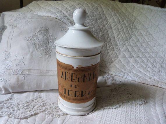 Antique porcelain chemist apothecary pharmacy pot jar 1800s, drug store bottle pot decor, medecine collectible gifts for doctor chemist by M... Fast Service #drugstore #antiquestore #antiquedecor