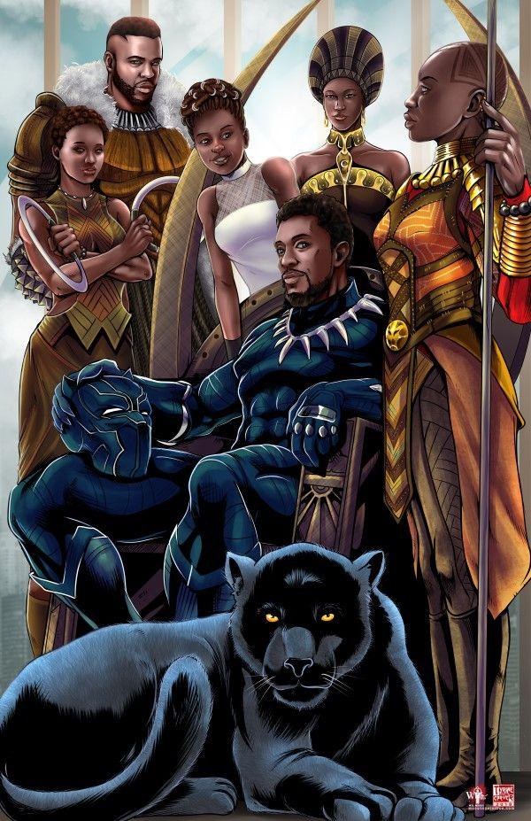 T'Challa Family Portrait © Tyrine Carver and Wil Woods of Musetap Studios  #blackpanther #marvel #mcu #t'challa #nakia  #okoye #ramonda #m'baku #shuri #letitiawright #angelabassett #winstonduke #danaigurira #lupitanyong'o #chadwickboseman