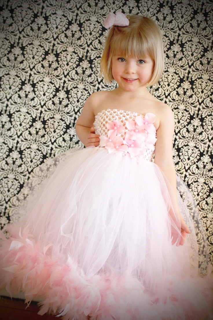 Pink and White Feather Boa Tutu Dress hydrangea by FrostingShop, $85.00