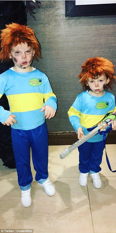 Coleen Rooney uploaded this photo of her and Wayne's children, Kai (stood on the left) and Klay (right) both dressed up as Horrid Henry