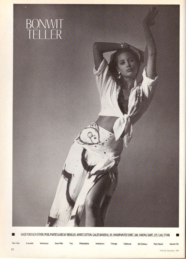1987 Christy Turlington Bonwit Teller Print Ad Advertisement Vintage VTG 80s | eBay
