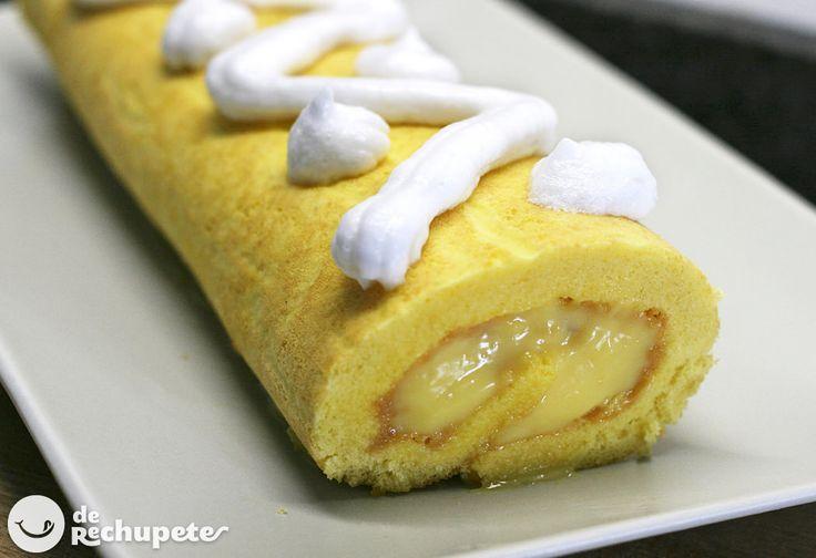 Cómo preparar de manera casera el famoso postre brazo de gitano. Un pastel relleno, un bizcocho cubierto de una capa dulce y relleno de crema pastelera. Preparación paso a paso y fotos.