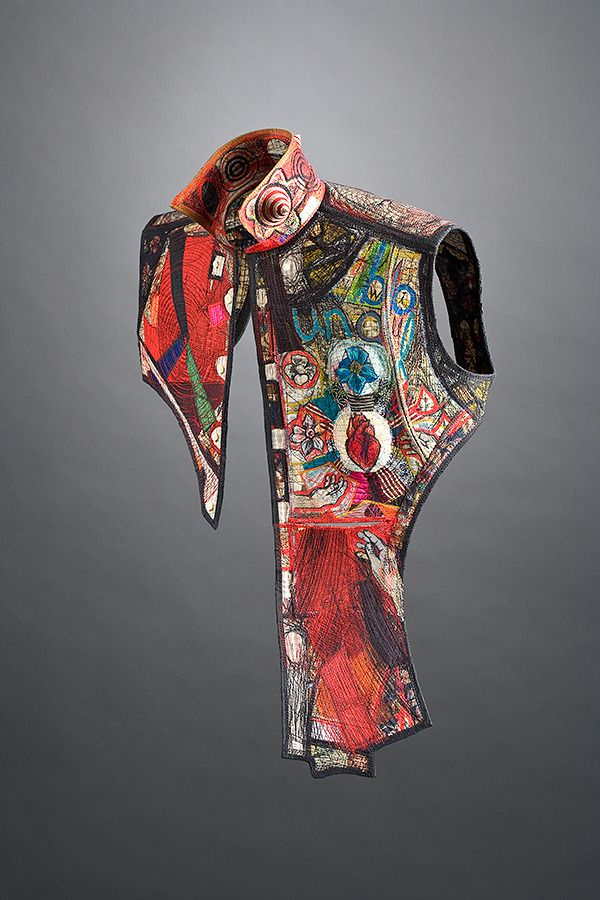 """Kay Khan - Boundless - 32"""" x 23"""" x 9""""; Silk, cotton; deconstructed man's shirt: """"armored"""" with text, imagery, and stitching; rebuilt"""