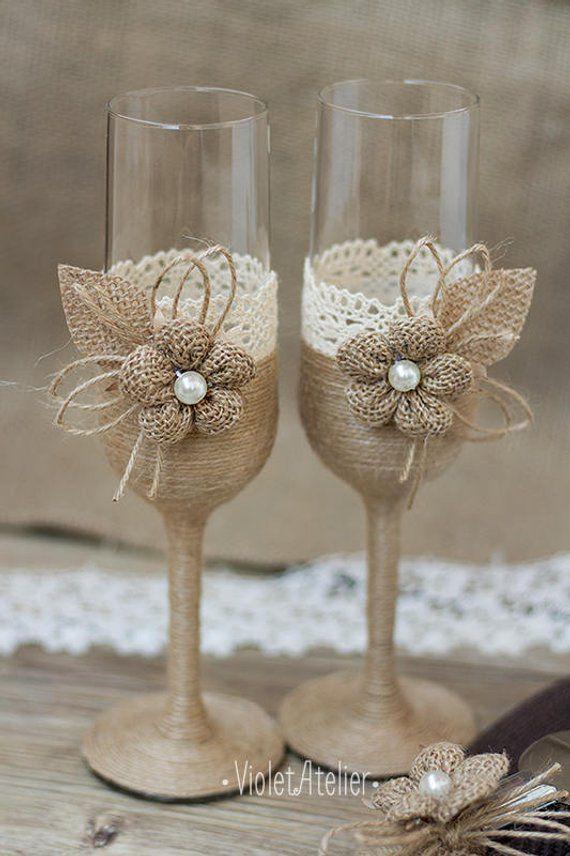 Rustic Lace Burlap Toasting Flutes, Champagne Burlap Flower Wedding Glasses Set, Bride and Groom Toasting Glasses, Toasting Rustic Glasses – Basteln