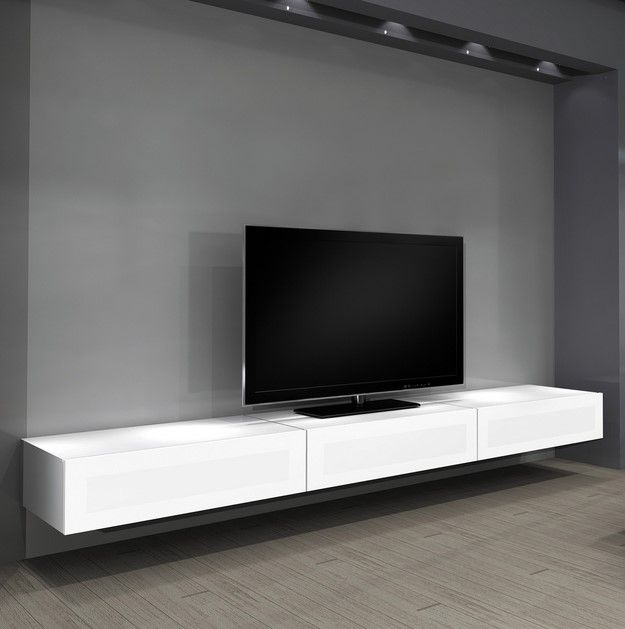 Floating Shelves Entertainment Center as Innovative Space Saver Idea : Charming Floating Shelves Entertainment Center Gray Paint Wall Hanging TV Shelves Wooden Floor