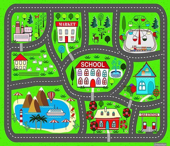 Kostenloser Versand - Krabbeldecke Auto spielen Stadt spielen praktische Teppiche für Kinder, schöne grüne Teppich für jungen Eine imaginäre Stadtspiel mit dem Namen des Kindes (Benutzerdefiniert) Ein Straße-Teppich, aus farbigem Vinyl, macht sofort Kinder wollen anfangen zu spielen Der