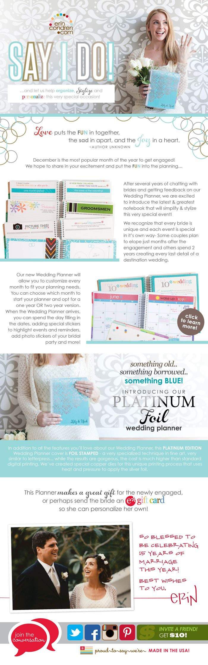 I absolutely LOVE my Erin Condren Wedding Planner!! From now on I'll only use EC planners! :)