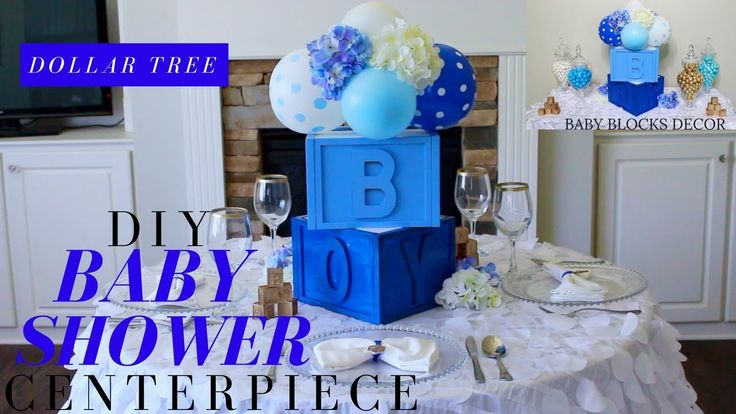 DOLLAR TREE DIY BABY SHOWER DECOR | DIY BOY BABY SHOWER CENTERPIECE | BA...