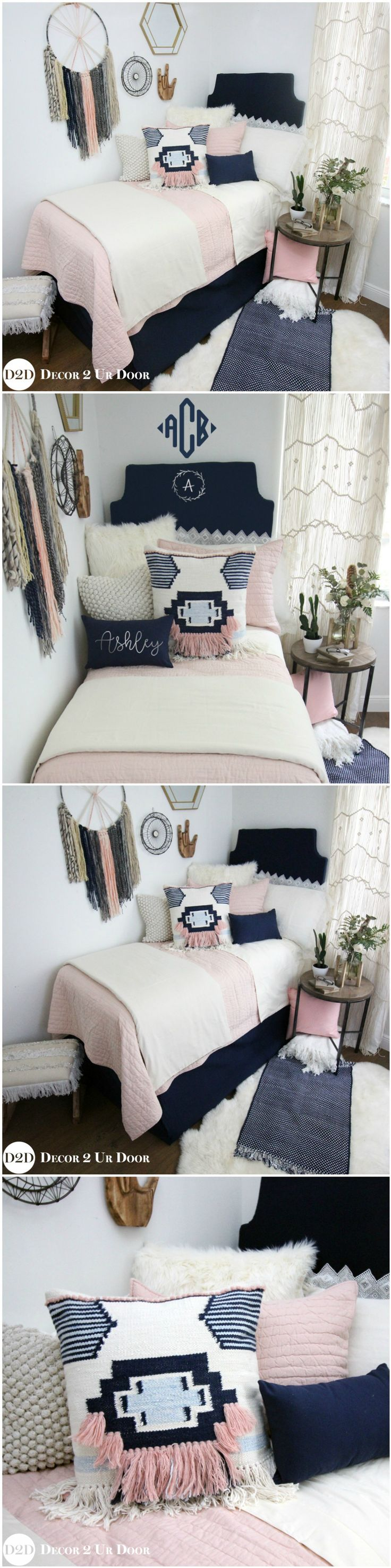 Decorating a dorm room? Check out Décor 2 Ur Door for the latest dorm room decorating trends. Dorm Room Décor. Designer dorm headboard, dorm bed scarf, dorm bed skirt/dorm dust ruffle, monogram dorm room pillows, dorm room window treatment, lofted dorm bed décor, dorm room wall monogram, chair cover for dorm room, modern dorm room furniture and so much more!