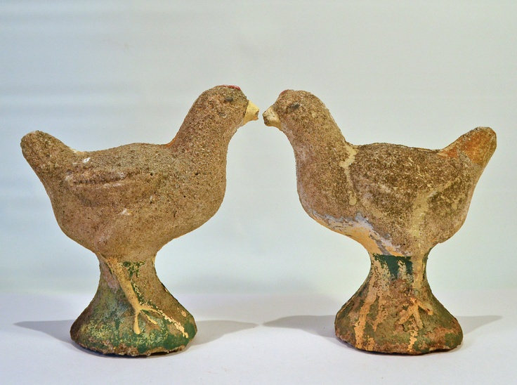 Great Pair of Vintage Cement Chicks - Bookends or Concrete Lawn Ornaments. $55.00, via Etsy.