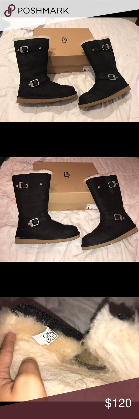 UGG Kensington black boots Size is 4 but actually fits 5.5 or 6. I'm a size 5 and the fit me a little big they run big, only used them once with socks on practically new plastic still on and comes with box, bought from Nordstrom UGG Shoes Winter & Rain Boots