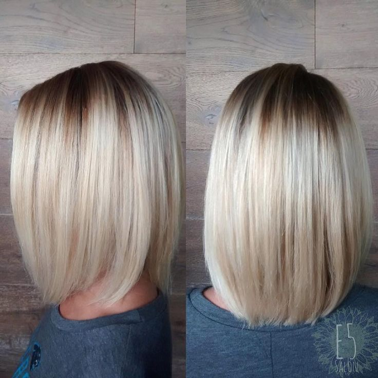 platinum blonde long bob with root shadow