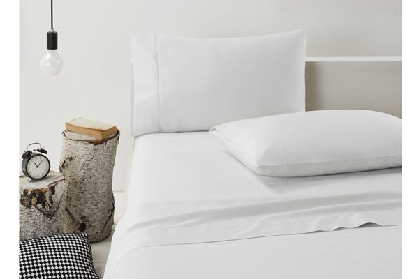 Dwell 370 Thread Count Cotton Flat & Fitted Bed Sheets Set WHITE KING SINGLE NEW