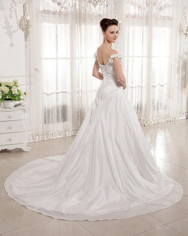 1000 ideas about mermaid bridal gowns on pinterest for Off the shoulder taffeta wedding dress
