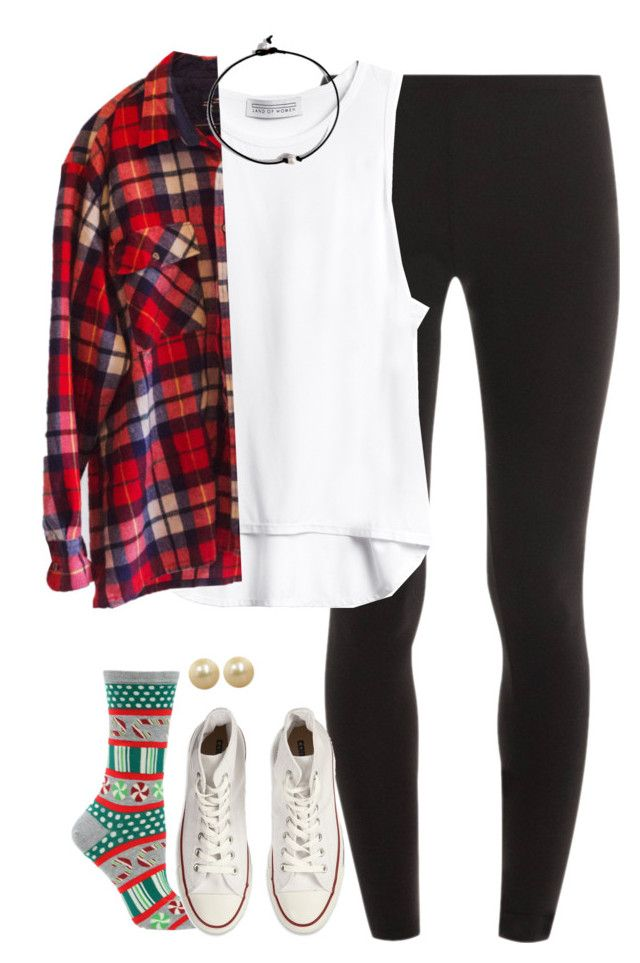 """""""what I wore today accept the flannel was huge and the socks had mistletoe on them"""" by kaley-ii ❤ liked on Polyvore featuring Splendid, Converse, Honora, women's clothing, women, female, woman, misses and juniors"""