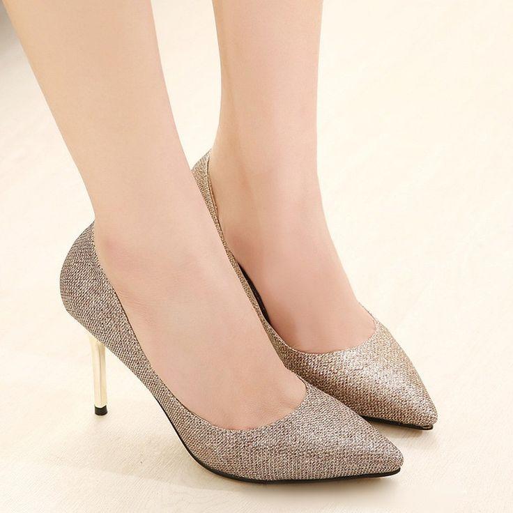 High Quality Fashion Women High Heels Pointed Toe Glittering Stilettos Shoes…