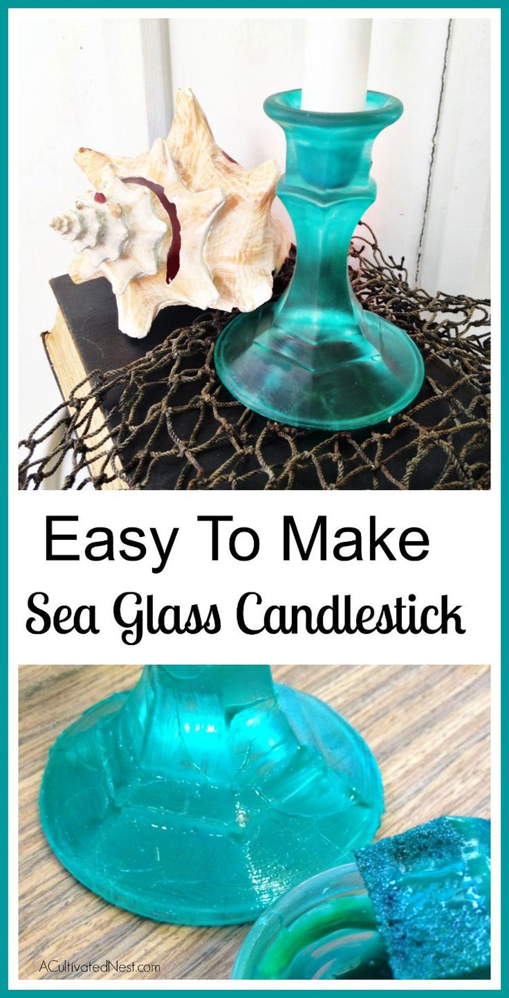 Decor nautical shell mirrors w sea glass starfish amp pearls blue - Diy Sea Glass Candlesticks