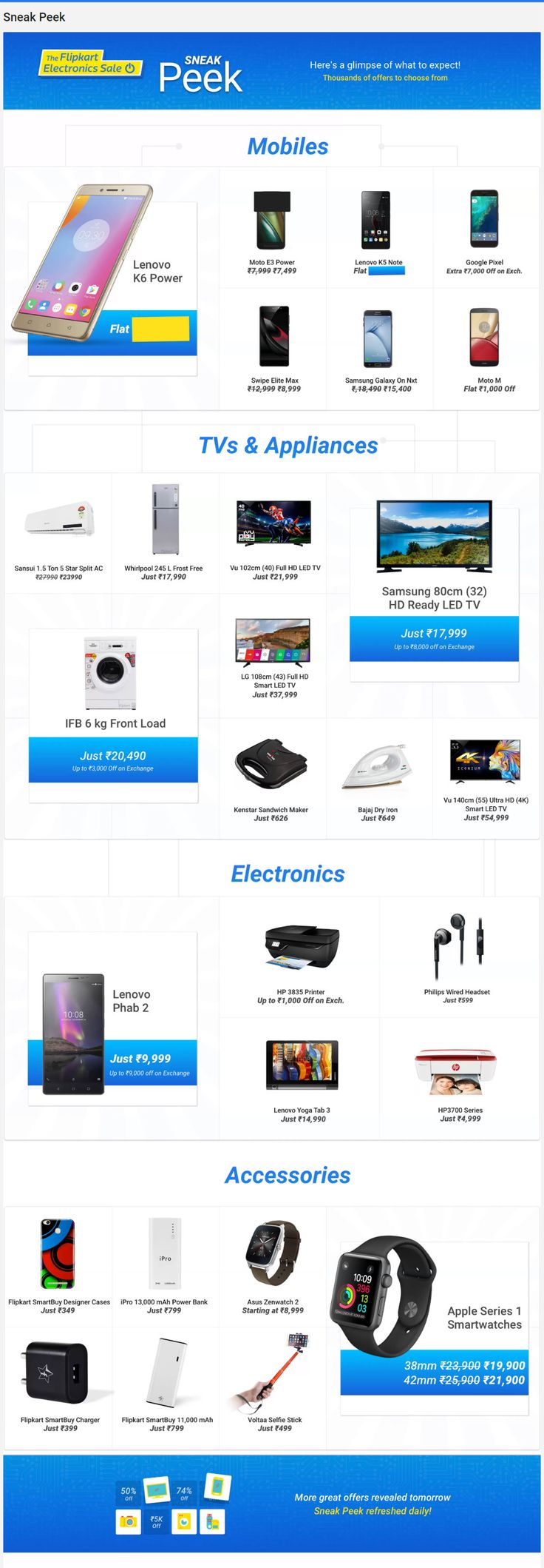 The Indian eCommerce giant Flipkart is all set to launch another #electronic #sale from 22nd to 24th March 2017. In this #Flipkart sale the company is offering thousands of electronic items on heavy #discounts and #cashback offers.