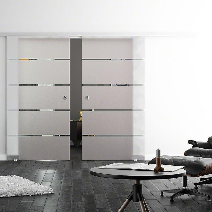 Glasschiebetür, LEVIDOR SoftStop / Soft Close, 2-flg., Siebdr. 4-Streifen, 775x2050mm, Griffmuscheln