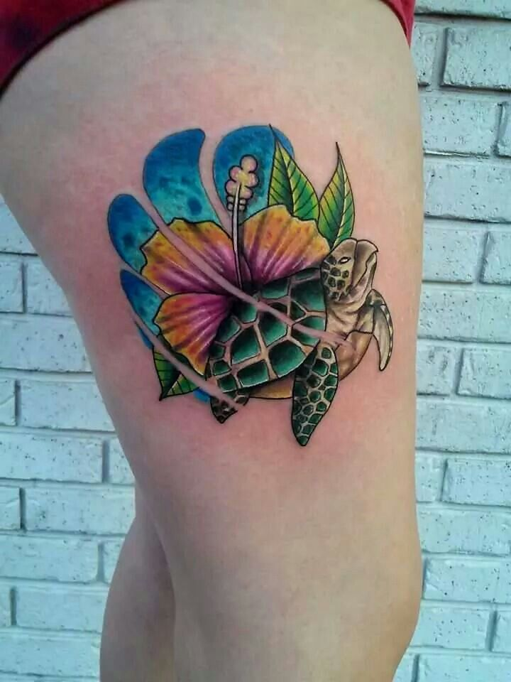 Flower n Turtle Tattoo On Belly - all-tattoos-for-men.com