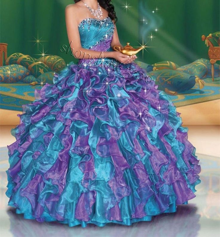Custom New Multi-Color Quinceanera Dresses Ruffle Ball Gown Prom Pageant Party #Handmade #BallGown #Formal
