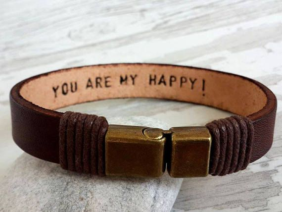 Personalized Leather Men Bracelet Bronze Clasp Bracelet