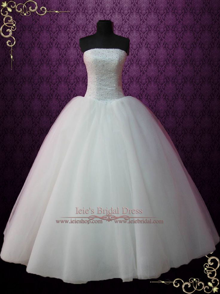 - Dress Info - Ordering at Ieie's - Custom Designs An all time favorite ball gown wedding dress featuring a strapless neckline and fully beaded bodice that will sparkle under lights. This is the dress