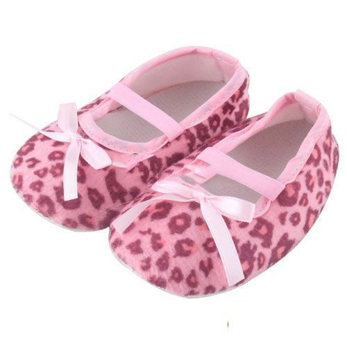newborn infant leopard pink bow baby soft crib shoes in
