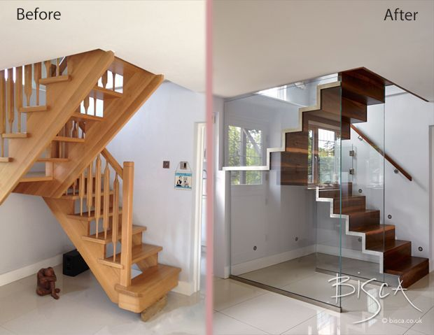 The Before Staircase on the left was actually a new staircase done by a joiner. Unfortunately the measurements were not taken properly and the bottom tread hangs in space. It was not what the client was expecting in either design, space, or look. Bisca removed and replaced with a staircase of walnut and glass with glass wall and dog-gate