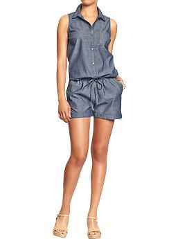 Women's Sleeveless Chambray Rompers | Old Navy Don't know why but LOVE this romper! Am I crazy? Can I wear this?!