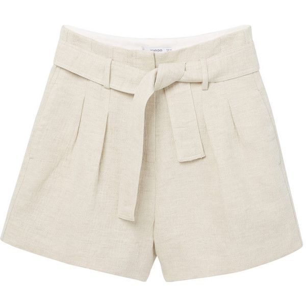 Cotton Linen-Blend Shorts (73 BRL) ❤ liked on Polyvore featuring shorts, pants, short, bottoms, linen cotton shorts, short shorts and mango shorts