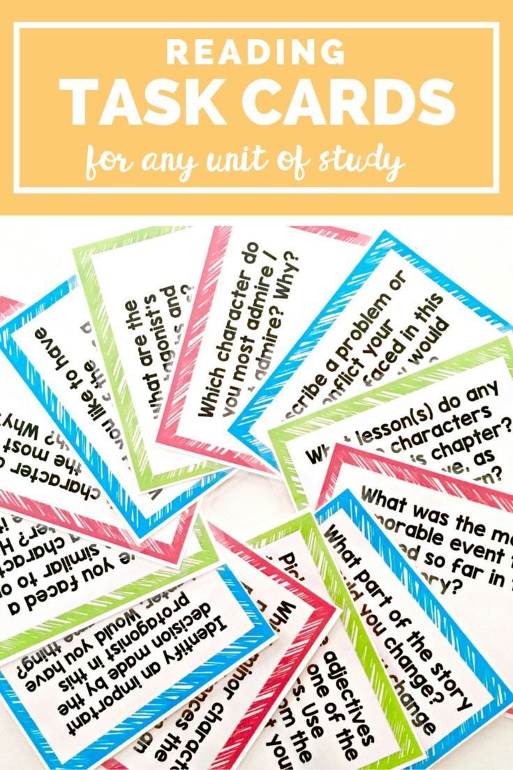 These Reading Task Cards make for fun reading activities in your middle school classroom! It's such a great idea because you can use these task cards in SO many different ways! It includes 28 questions that you can use with any unit of study throughout the year!