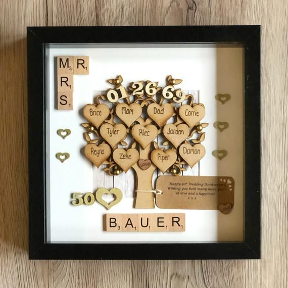 Golden Wedding Anniversary Gift And Family Tree 50th Wedding Etsy Anniversary Gifts For Parents Golden Wedding Anniversary Gifts Family Tree Gift