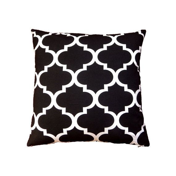 Black Pillow Case Black And White Cushion by MirraDesignStudio