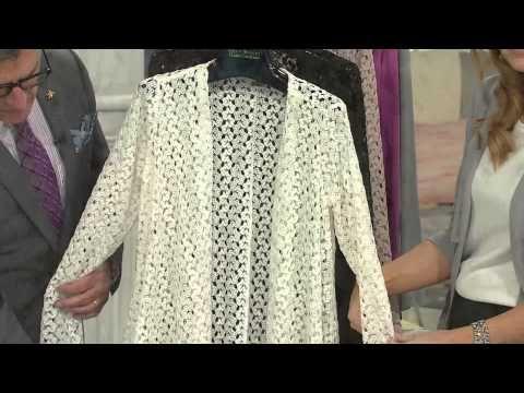 Joan Rivers Drape Front Crochet Cardigan with Long Sleeves with Jennifer Coffey - YouTube
